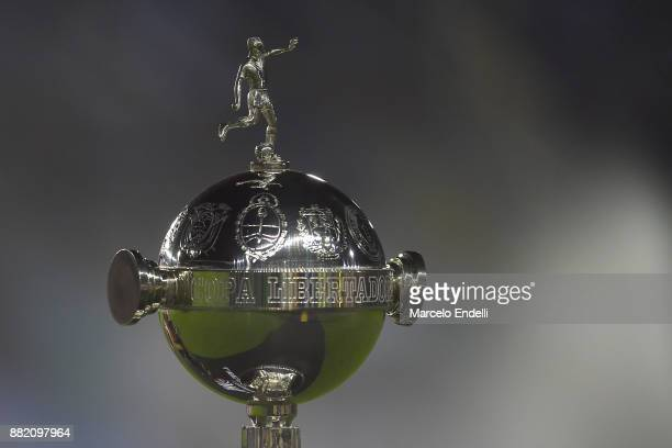 Detail of Copa Libertadores trophy during the second leg match between Lanus and Gremio as part of Copa Bridgestone Libertadores 2017 Final at Ciudad...