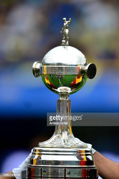 Detail of Copa Libertadores trophy prior the first leg match between Boca Juniors and River Plate as part of the Finals of Copa CONMEBOL Libertadores...