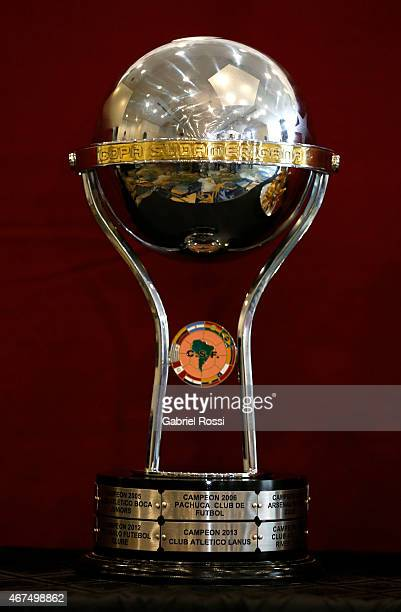 Detail of Copa Sudamericana trophy prior to the Supercopa Euroamericana press conference at Hotel Panamericano on March 25 2015 in Buenos Aires...