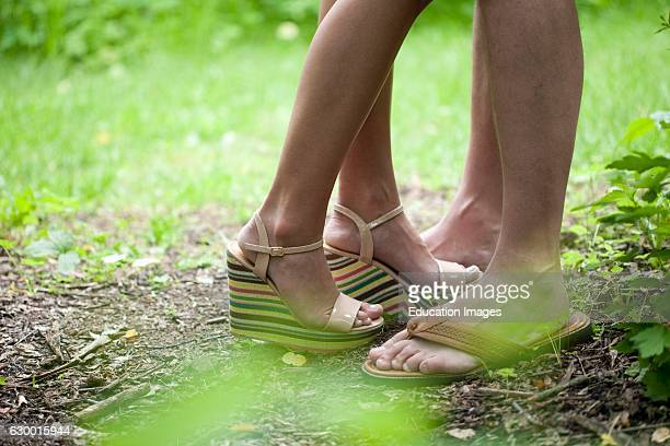 Detail of couples feet standing close together Irish Hollow Galena IL