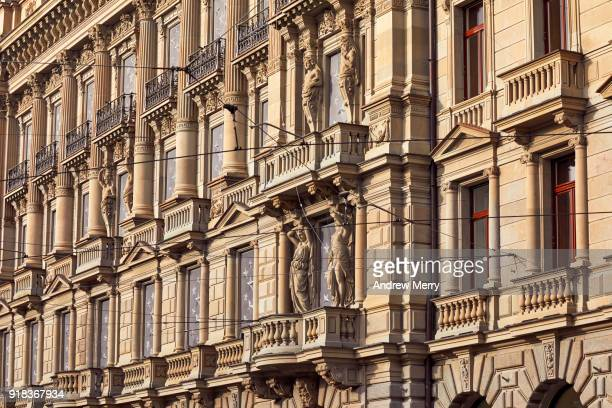 detail of credit suisse headquarters building, paradeplatz, bahnhofstrasse, zürich - credit suisse stock pictures, royalty-free photos & images