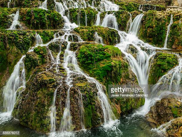 A detail of dancing water in the cascade of Orbaneja del Castillo, north of the province of Burgos, Spain. A tributary of the river Ebro.