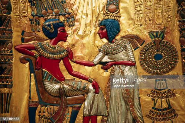 detail of decorated throne of tutankhamen - 王座 ストックフォトと画像