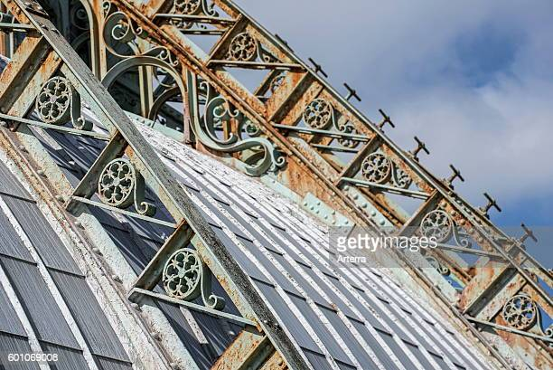 Detail of decorated wroughtiron truss of the Royal Greenhouses of Laeken in Art Nouveau style designed by Alphonse Balat in the park of the Royal...
