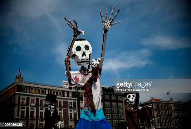 Detail of decorations regarding the Day of the Dead at the Zocalo square in Mexico City on November 1 2018