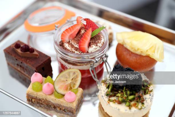 Detail of desserts in the restaurant at the St Moritz Hotel's socially distanced restaurant on July 21, 2020 in Wadebridge, England. This is the UK's...