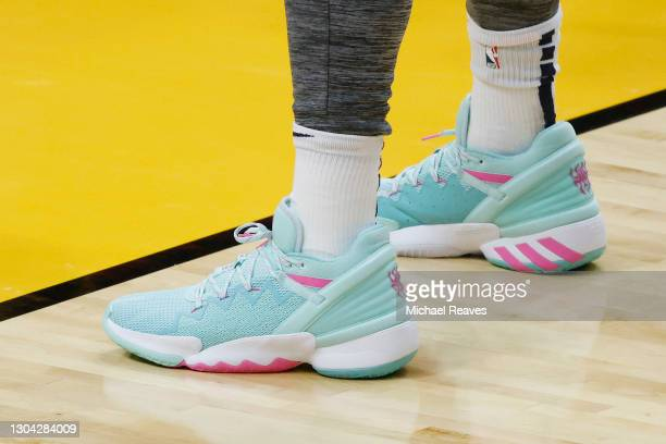 Detail of Donovan Mitchell of the Utah Jazz Adidas D.O.N. Issue shoes prior to the game against the Miami Heat at American Airlines Arena on February...