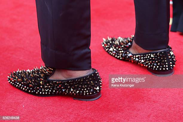 A detail of draftee Laremy Tunsil's shoes on the red carpet prior to the 2016 NFL Draft on April 28 2016 in Chicago Illinois