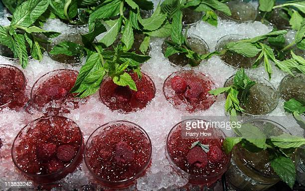 Detail of drinks, including Mint Juleps, are seen in a vendor's try during the 137th Kentucky Derby at Churchill Downs on May 7, 2011 in Louisville,...
