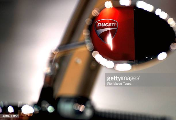 A detail of Ducati motorbike is displayed during the EICMA 72th International Motorcycle Exhibition on November 4 2014 in Milan Italy