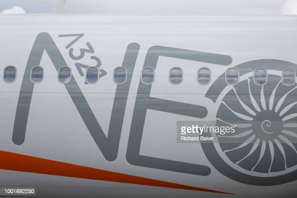 Detail of EasyJet's Airbus A321 NEO at the Farnborough Airshow on 18th July 2018 in Farnborough England