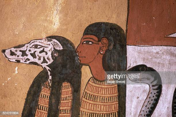 Detail of Egyptian 19thDynasty Painting of Anubis Preparing the Body of Sennedjem for the Tomb
