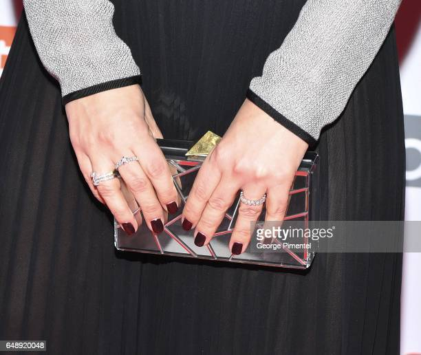 A detail of Elisha Cuthbert's rings and purse at Goon Last Of The Enforcers Premiere at Scotiabank Theatre on March 6 2017 in Toronto Canada