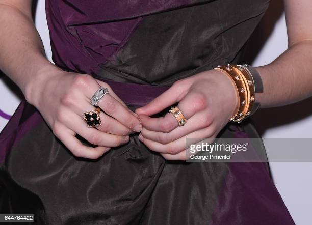 Detail of Emma Roberts jewellery at the Red Carpet Green Dress Pre-Oscar Celebration at a private residence on February 23, 2017 in Los Angeles,...