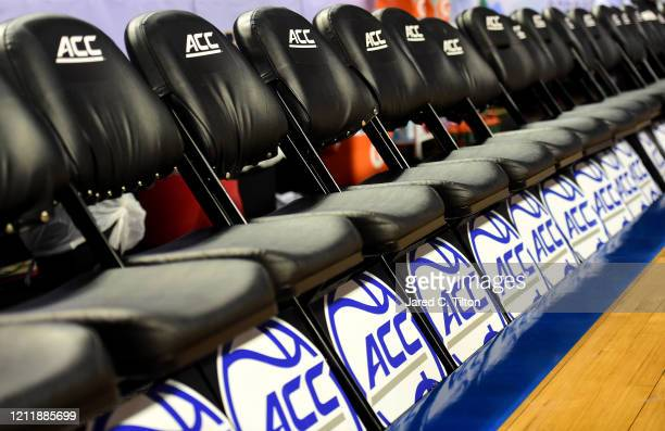 Detail of empty seats are seen prior to the game between the North Carolina Tar Heels and the Syracuse Orange in the second round of the 2020 Men's...