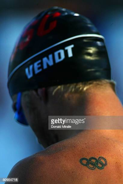 A detail of Eric Vendt's tattoo of the Olympic Rings before his swim in the 400 IM Final at the Janet Evans Invitational on June 12 2004 in Long...