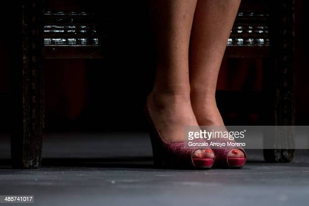 A detail of Esperanza Aguirre«s heels while she is sitted on the stage prior to give the April's Bullfighting Fair opening speech at Lope de Vega...