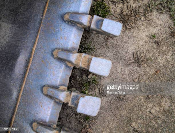 detail of excavator bucket - excavator stock pictures, royalty-free photos & images