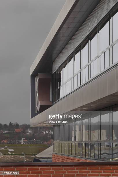 Detail of exterior from main entrance against cloudy sky IBC Kolding Campus Kolding Denmark Architect schmidt hammer lassen architects 2006