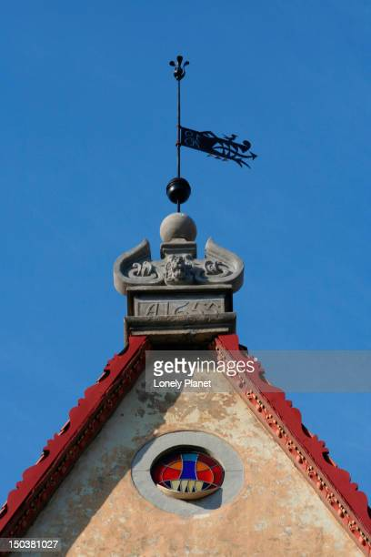 detail of exterior of linnateater (theatre). - harjumaa stock pictures, royalty-free photos & images