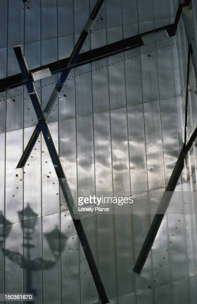 detail of facade of jewish museum, kreuzberg. - jewish museum stock pictures, royalty-free photos & images