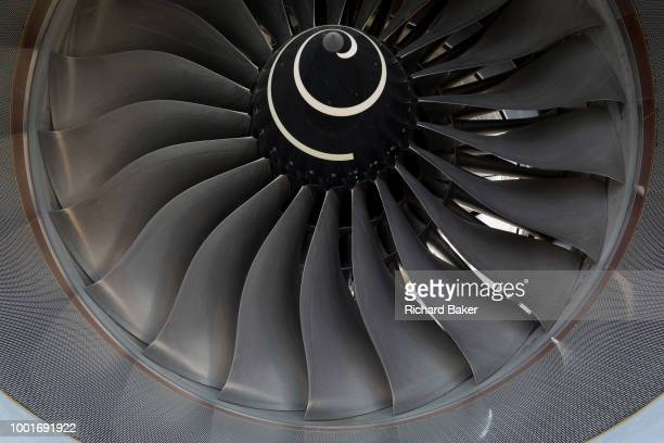Detail of fan blades of a Qatar Airways Airbus A3501000 at the Farnborough Airshow on 18th July 2018 in Farnborough England