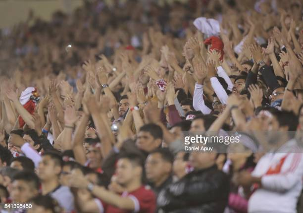 Detail of fans of Peru during a match between Peru and Bolivia as part of FIFA 2018 World Cup Qualifiers at Monumental Stadium on August 31 2017 in...