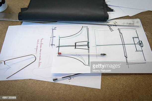 Detail of fashion drawings in fashion studio