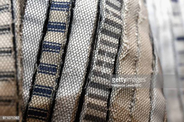 Detail of fashion garments on display at Phoebe English at the NEWGEN PopUp Showroom during London Fashion Week Men's June 2018 at the BFC Designer...