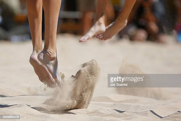 A detail of feet jumping in the sand during the women's final at the AVP Championships at Huntington Beach on September 21 2014 in Huntington Beach...