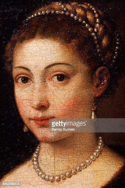 Detail of Female Wearing Pearl Jewelry from Girl in a Fur by Titian