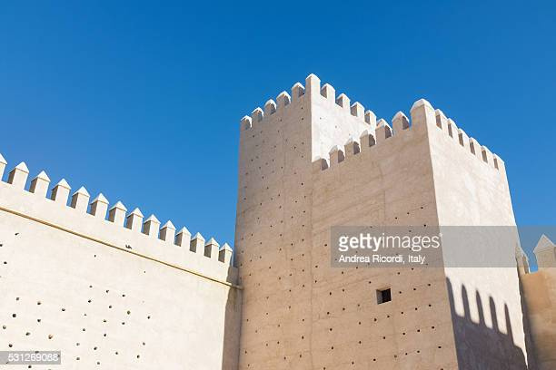 Detail of Fez walls against a blue sky