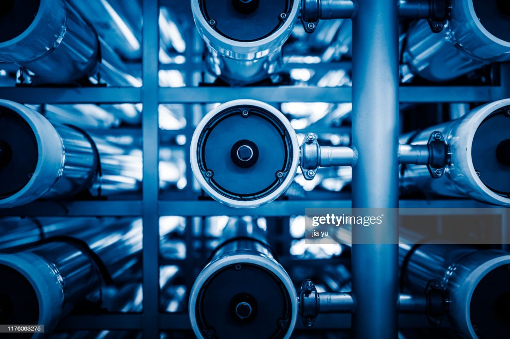 Detail of Filtering System in Reverse Osmosis Water Purification Plant : Stock Photo