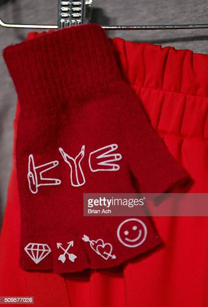 A detail of fingerless gloves backstage at the Kye Fall 2016 fashion show during New York Fashion Week The Shows at The Gallery Skylight at Clarkson...