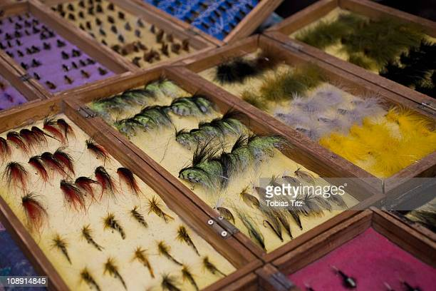 Detail of fishing lures in display cases