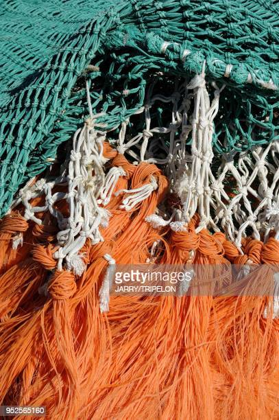 Detail of fishing net at Le Crotoy Baie de Somme and Cote d'Opale area Somme department Picardie region France
