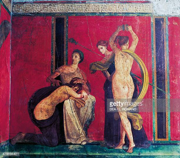 Detail of flagellation and a dancer from the fresco cycle fresco in the Villa of the Mysteries Pompeii Campania Italy Roman civilisation 1st century...