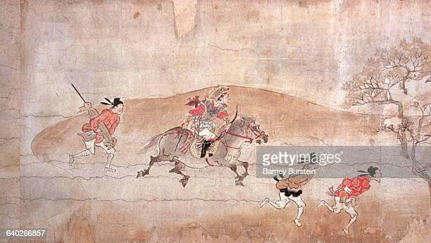 Detail of Fleeing Figures from The Adventures of Kibi in China Scroll Painting