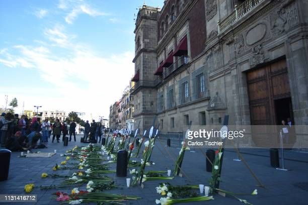 Detail of flowers and crosses as part of the floral offering for the Mexican environmental Activist Samir Flores Soberanes on February 22, 2019 in...
