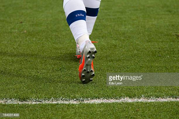 Detail of football boots during a match between Ecuador and Chile as part of the South American Qualifiers for the FIFA Brazil 2014 World Cup at the...
