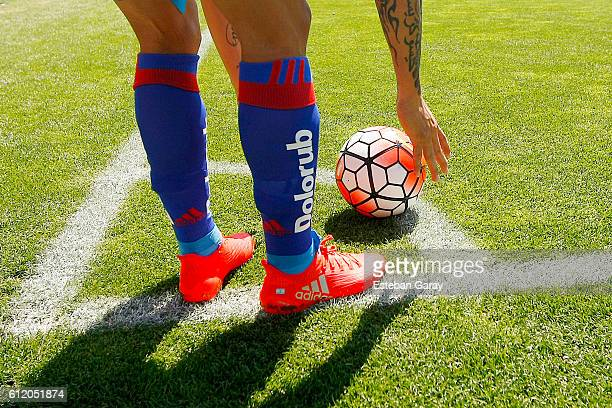 Detail of football boots of Fabian Monzon of U de Chile during a match between Colo Colo and U de Chile as part of Torneo Apertura 20162017 at...