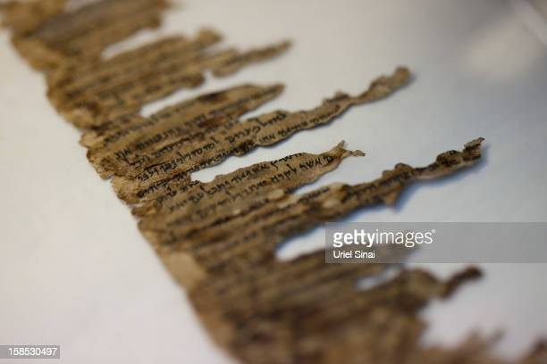 A detail of fragments of the 2000yearold Dead Sea scrolls at a laboratory before photographing them on December 18 2012 in Jerusalem Israel More than...