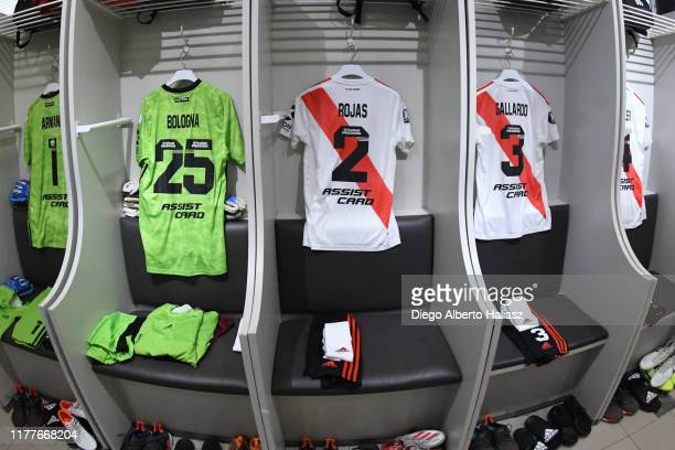 Detail of Franco Armani Enrique Bologna Robert Rojas and Nahuel Gallardo of River Plate jerseys in the dressing room before a the Semifinal second...