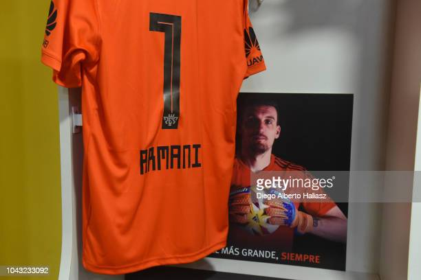 Detail of Franco Armani of River Plate jersey in the visitor's dressing room prior to a match between Boca Juniors and River Plate as part of...