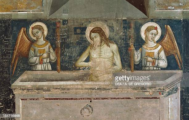 Detail of fresco depicting the Resurrection of Christ Basilica of Santa Caterina d'Alessandria Galatina Apulia Italy 15th century