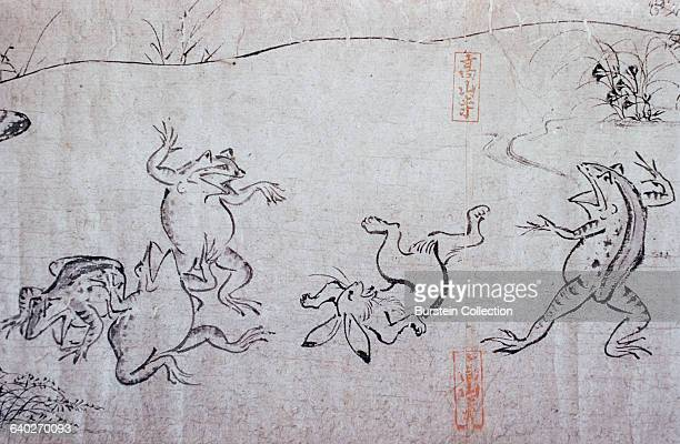Detail of Frogs and Rabbit Playing from Choju Giga Handscrolls attributed to Toba Sojo