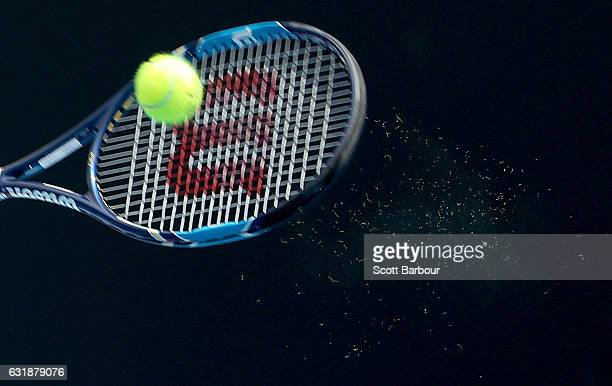 A detail of fuzz from a tennis ball hit by Lucie Safarova of the Czech Republic as she plays a forehand in her first round match against Yanina...