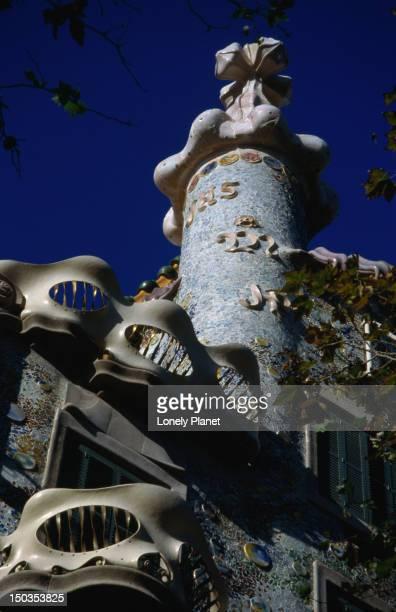 Detail of Gaudi's Casa Batllo on the Manzana de la Discordia (The Apple (or Block) of Discord).