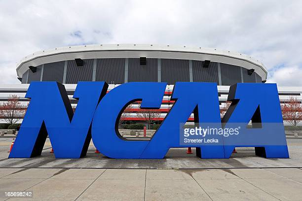 Detail of giant NCAA logo is seen outside of the stadium on the practice day prior to the NCAA Men's Final Four at the Georgia Dome on April 5, 2013...