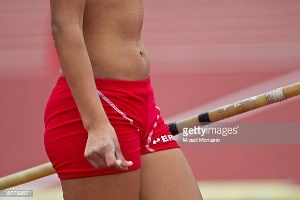 Detail of Gina Lucero´s clothes during Women's Pole Vault event as part of the I ODESUR South American Youth Games at Estadio Miguel Grau on...